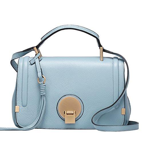 Dissa Q0748 Damen Leder Handtaschen Top Handle Satchel Tote Taschen Schultertaschen,28x14x18 B x T x H (cm) Blau