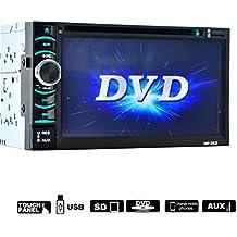 """Lacaca 6,5""""doppio 2DIN touch screen Car Stereo DVD lettore CD audio stereo Bluetooth USB SD AM FM Ricevitore TV Radio supporto controllo del volante AV Input/Output e telecamera posteriore"""