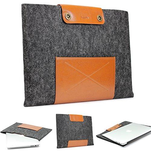 Urcover® Handgefertige Designer Macbook Pro 13 Zoll Tasche Sleeve Hülle EXTRA FACH für Maus Ladekabel etc. Notebooktasche Ultrabook-Schutzhülle Laptophülle in Schwarz Braun