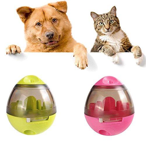 MMUY-1 Dog toyTreat Ball, Naturkautschuk, einstellbare Kanalgröße, interaktives Spiel als Futternapf, für Hunde,Pink