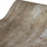 Glow4u Autocollant rétro rustique Bois papier Contact Shelf Liner papier peint pour...