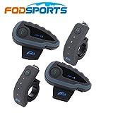 Fodsports 2pcs moto moto Multi Bluetooth Intercom Interfono auricolari - manubrio remoto, FM Radio NFC 1200m - 5 piloti Full Duplex vivavoce Bluetooth comunicazione interfono, impermeabile, ottimo per equitazione e lo sci