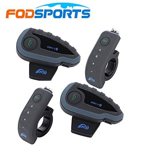 Motocycle Interphone Kommunikation, Fodsports Motorrad Bluetooth Headset mit Lenker Fernbedienung, ideal für Reiten und Skifahren(5 Riders/1200M/FM Radio/ Wasserdicht)