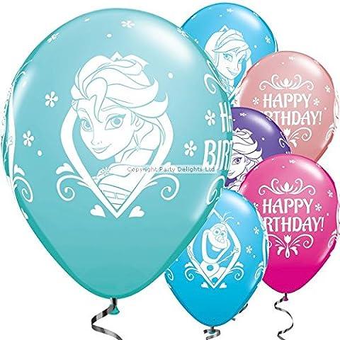 Lot 25 ballons Disney La Reine des Neiges Frozen Joyeux Anniversaire Latex 28 cm Anna Elsa Olaf Qualatex by Qualatex