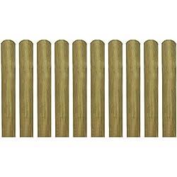 vidaXL listones de madera impregnados para cercado 10 uds 60 cm