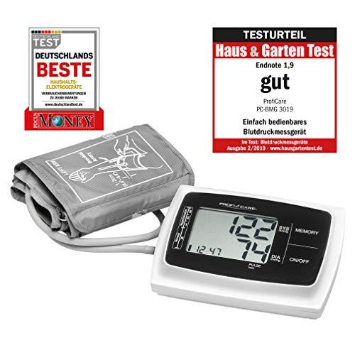ProfiCare PC-BMG 3019 Oberarm Blutdruckmessgerät, vollautomatische Blutdruck-und Pulsmessung, großes LCD-Display und Bedientasten, 3-Werte-Anzeige, 2x60 Speicherplätze, inkl. Aufbewahrungstasche