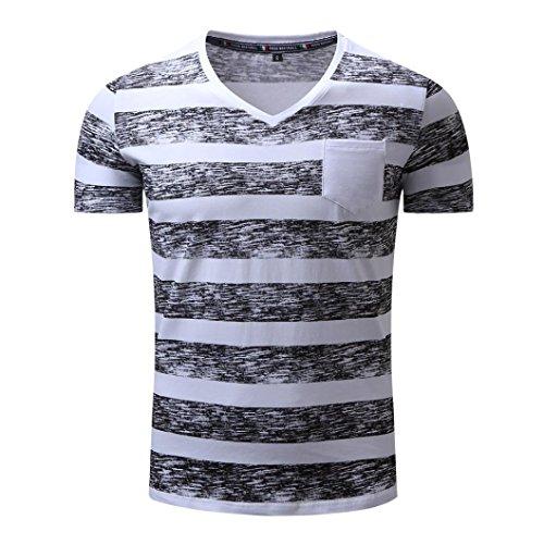 T Shirt Herren, HUIHUI Coole O-Ausschnitt Kurzarm Sweatshirt Slim Fit Basic uv Polo-Shirt Mode Sport Oberteile Oversize Bench Tops Striping Casual Sommer Freizeit Hemd Poloshirt (M, Schwarz)