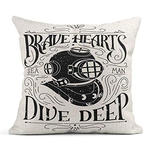 Ale haung Dekokissenbezug Print Old Diving Helm Rough Hand Schriftzug Sketchy Diver und Swirly Vintage Kissenbezug einseitig Design Home Sofa Decor45x45 cm -