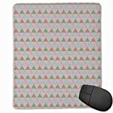 Mouse Mat Stitched Edges, Japanese Geometric Triangles With Quilt Motifs Illustration,Gaming Mouse Pad Non-Slip Rubber Base