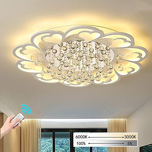 JiesenAN Herzförmige Kristall Deckenleuchte, Wohnzimmer Lampe Einfache Moderne Heimat Stufenlos Dimmen Deckenleuchte Kreative Beleuchtung Ultradünne Acryl Schlafzimmer Lampe,Steplessdimming,D100*H4CM -