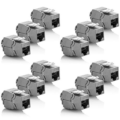 Cat6a-buchse (deleyCON 12x Keystone Modul CAT 6a Jack - Vollgeschirmt STP RJ45 Buchse Werkzeugfrei Dank Snap-In Montage CAT Rohkabel 500Mhz 10GBit/s)