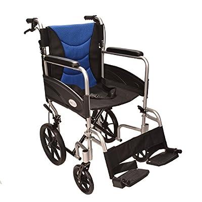 Ultra Lightweight aluminium folding transit wheelchair with attendant brakes ECTR07