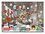 QTZJYLW Weihnachten Wand Sticker Christmas House Elk Muster Frohe Weihnachten Wohnzimmer Home Glas Fenster Dekoration Wand Aufkleber (55 × 38 cm)