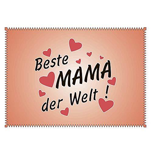Brillenputztuch mit Motiv Beste Mama der Welt - Geschenk | Putztuch Displayputztuch Mikrofasertuch mit Wunschbild Foto Wunschtext (Beste Mama)
