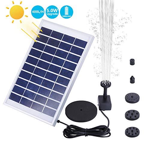 Especificación de la fuente solar: * Energía del panel solar: 10 V / 5.0W * Potencia de la bomba: 10 V / 2.5W * Tamaño del panel solar: 11in × 7.1in * Cabeza máxima: 70.87 in * Cantidad máxima de flujo: 400L / H * Altura máxima del agua: 29.53 in * L...