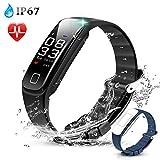 Fitness Tracker, Wasserdicht Fitness Smart Armband Uhr mit mit Herzfrequenzmesser, Schrittzähler Fitness Uhr Pulsmesser Schlafmonitor Kalorienzähler, Pulsmesser, Anruferinnerung, Schwarz von AGPTEK