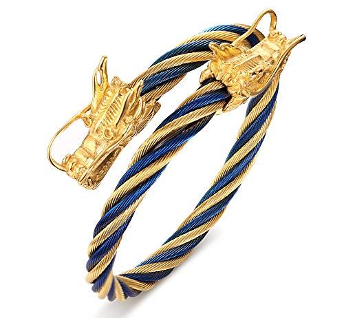hl Zweifarbige Verdrehte Kabel Draht Doppel Dragon Head Wrap Einstellbar Armreifen Armbänder für Männer, Gold Blau ()
