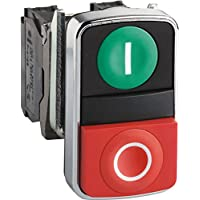 Schneider XB4BL845 green flush/red projecting illuminated double-headed pushbutton Ø22 1NO+1NC 24V