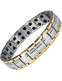 MPS® EUROPE Gold Edge Links Titanium Magnetic Bracelet, Fold-Over Clasp, 3000 gauss Magnets + FREE Links Removal Tool