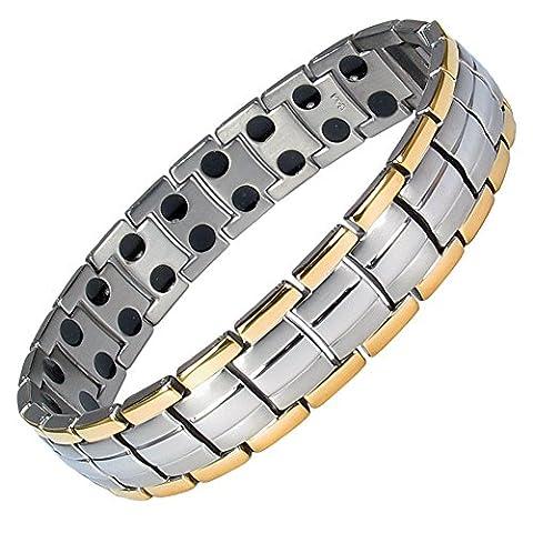 MPS® EUROPE Gold Edge Links Titanium Magnetic Bracelet, Fold-Over Clasp,