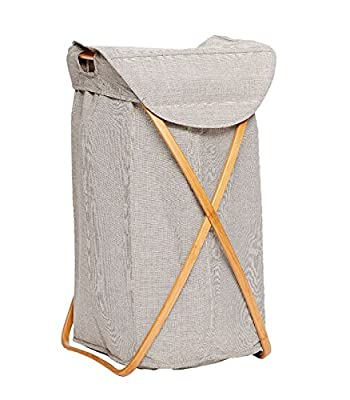Laundry Basket Bamboo Frame, Grey Fabric - cheap UK light shop.