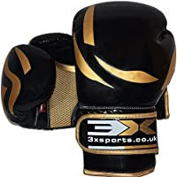 PROFESSIONAL CHOICE 3X Sport Gants De Boxe Entrainement Kickboxing Compétition Mitaines De Sac De Frappe Boxing Gloves (Golden, 10oz)