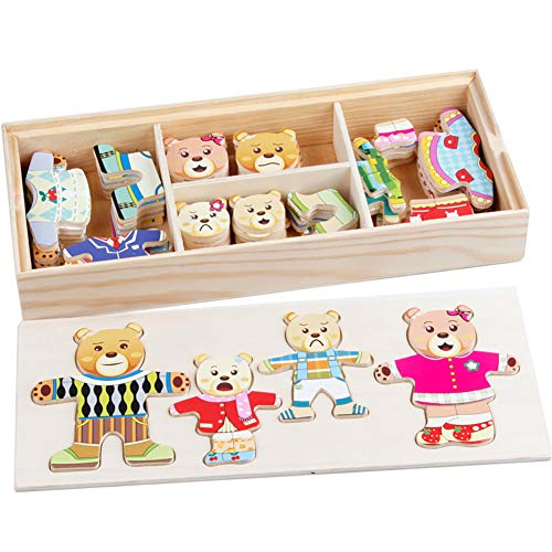 AAGOOD Vier Bären Umkleiden Puzzle frühe Bildung Spielzeug 1 set1 Set aus Holz Familie Dress-Up Puzzles Netter A (Up Dress Familie)