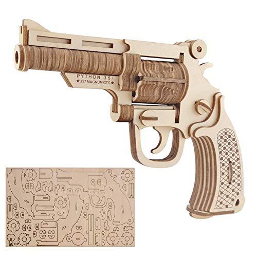 Zerodis DIY Puzzle Spielzeug Set 3D Holz Puzzle Revolver Modell Bausätze Kind DIY Woodcraft Montage Kit für Kinder Erwachsene Weihnachten Geburtstag Geschenk - Erwachsenen-modell-kits