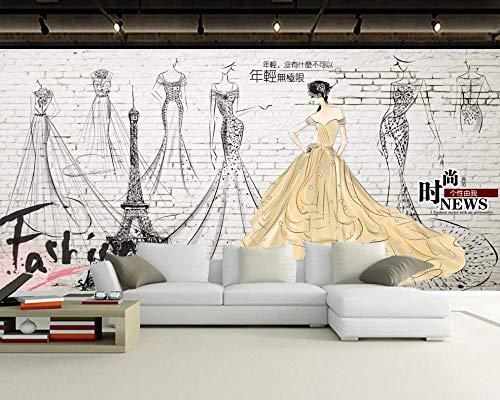 3D Fototapete Retro Bekleidung Store Hintergrund Wand Brautladen Kleid Shop Wandbild (Blick-strand-kleid)