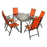 7tlg. Gartengarnitur Alu Sitzgruppe Sitzgarnitur Gartenstühle Glastisch orange