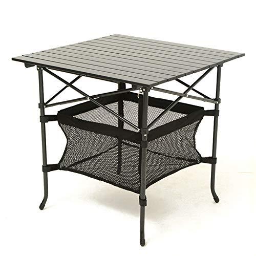 PeiQiH Portable Table Pliable, Extérieur Compact Anti-dérapant Léger avec Sac de Transport Table de Pique-Nique Aluminium Patio Jardin Voyage Table de Camping-Noir 70x70x69cm