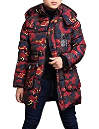 Zhuhaitf Alta calidad Fashion Kids Boys Winter Thicker Warm Camouflage Long Jacket Outwear 2 Colors