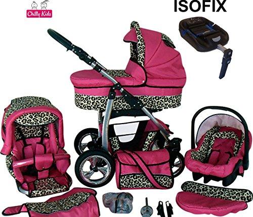 Chilly Kids Dino Kinderwagen Safety-Set (Autositz & ISOFIX Basis, Regenschutz, Moskitonetz, Getränkehalter, Schwenkräder) 17 Pink & Leopard