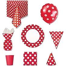 Rojo diseño de lunares Suministros para fiestas Kit para 8