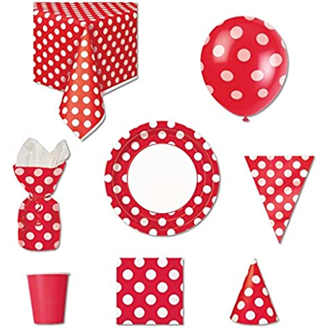 Red Polka Dot Party Bags 2 Go-Kit per Party, da 8