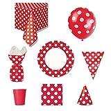 Rot POLKA DOT Party Supplies Kit für 8