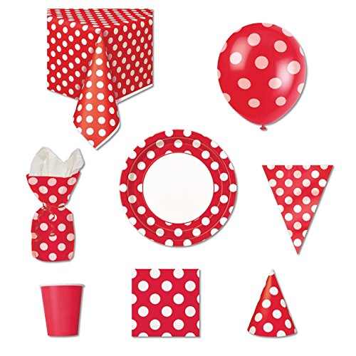 Rot POLKA DOT Party Supplies Kit für 8