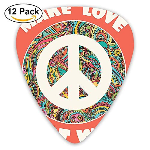 Hippie Style Ornamental Creative Youth History Politics Make Love Not War Text Guitar Picks 12/Pack Set - Youth Pack