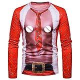 CICIYONER Weihnachtsmänner Long Sleeve Print Top T-Shirt, Männer Herbst Winter Weihnachten Drucken Oben Herren Langärmelig T-Shirt Bluse