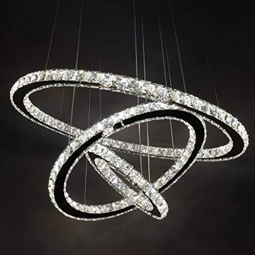 Lampadario A Led Moderno.Eurekaled Lampadario Led Moderno Con 3 Anelli In Cristallo Luce Fredda Luce Fredda