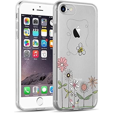Cover iPhone 7, JAMMYLIZARD Custodia in Silicone Trasparente con Sketch per iPhone 7, FIORI E APE