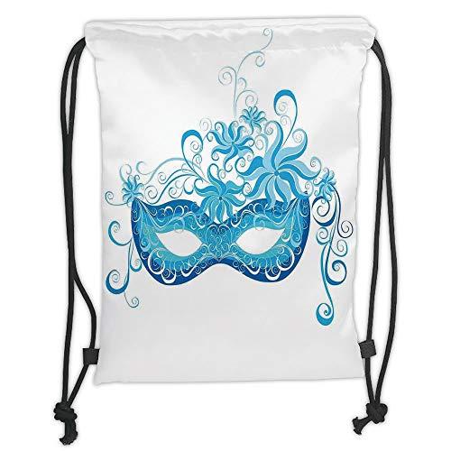 WTZYXS Drawstring Sack Backpacks Bags,Masquerade,Venetian Style Mask Majestic Impersonating Enjoying Halloween Night Theme,Blue and Sky Blue Soft Satinring Closu,5 Liter Capacity.