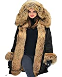 Aofur New Ladies Parka Jacket Women Cotton Casual Trench Fur Collar Hooded Jacket Parka Coat Size 8-20 (14, Black)