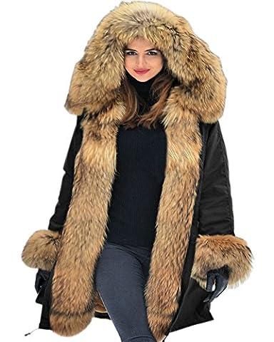 Aofur Frauen Damen Luxus Winter Mantel Lange Warme Thick Parka Faux Pelz Jacke mit Kapuze Mantel PLUS GRÖSSE 36-50 Kapuzenpullover (38/40,
