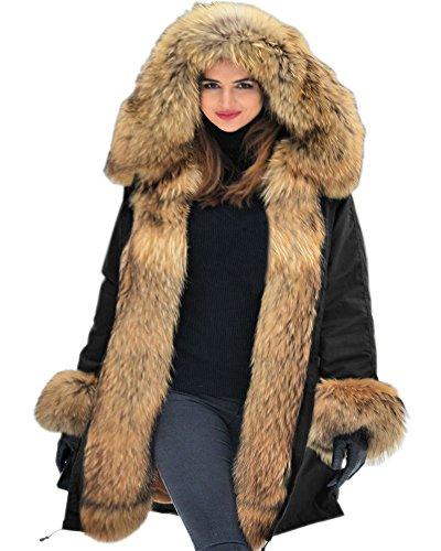 Aofur Chaqueta de mujeres Ropa Abrigo largo caliente Cuello de piel con capucha Chaqueta Parka de...