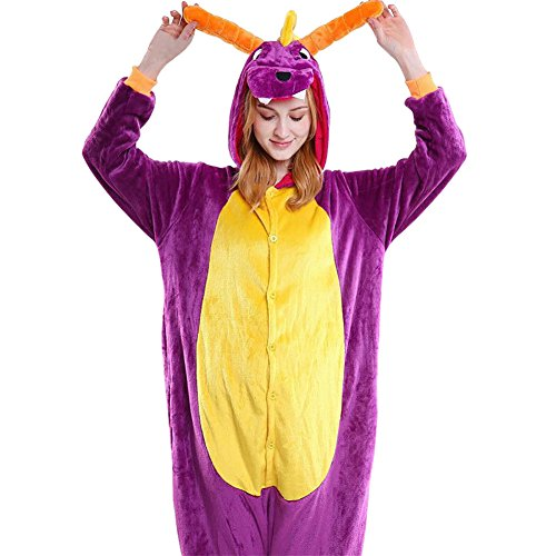 Mena Uk Cartoon Tier Pyjamas Adult Unisex Fleece Siamese Pyjamas / Halloween Rolle Dress Up ( Farbe : P dragon , größe : S(145cm-155cm) (Dress Up P Kostüme)