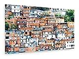 Favela, überfüllten Brasilianischen Slum in Rio de Janeiro - 100x60 cm - Textil-Leinwandbild auf Keilrahmen - Wand-Bild - Kunst, Gemälde, Foto, Bild auf Leinwand - Städte & Reise