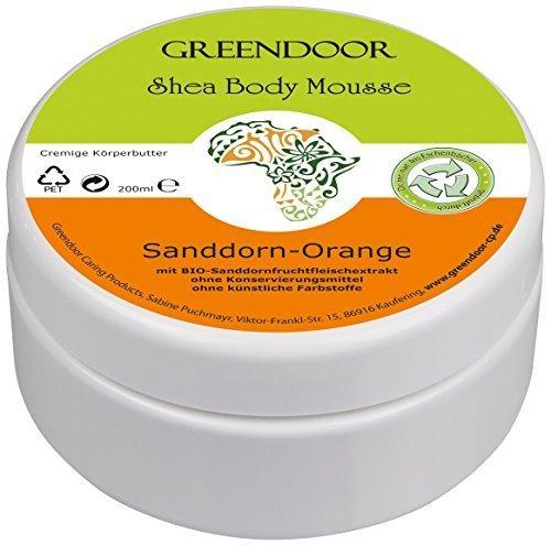 Körperbutter Greendoor Bodymousse Sanddorn Orange, 4,5 Sterne, Body Butter 200ml, rein natürliche Inhaltsstoffe, vegane Naturkosmetik mit BIO Shea-Butter, Haut-Pflege Creme natural, Geschenke