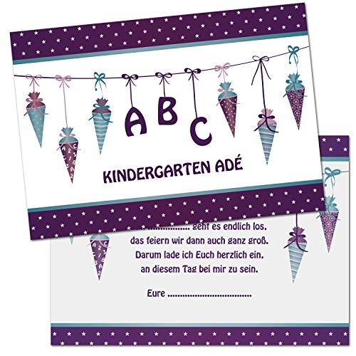 Kreatives Herz - ABC Einladungskarten zur Einschulung (10er Set - A6) für Mädchen Einladungen Schulanfang Kinder Party 1. Schultag Schultüte Zuckertüte LILA