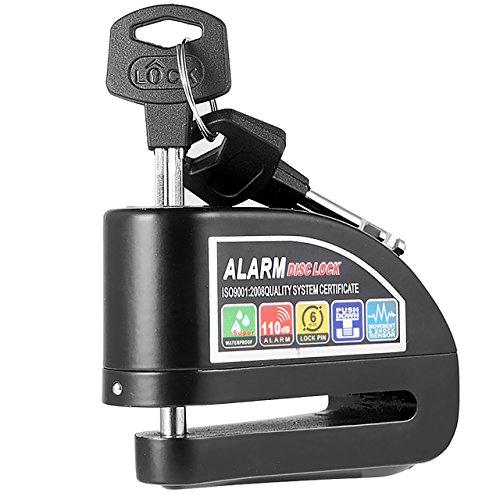 Magiin Candado con Alarma 6mm 110dB Candado de Disco Freno Antirrobo Impermeable para Moto Motocicleta Bicicleta Scooter